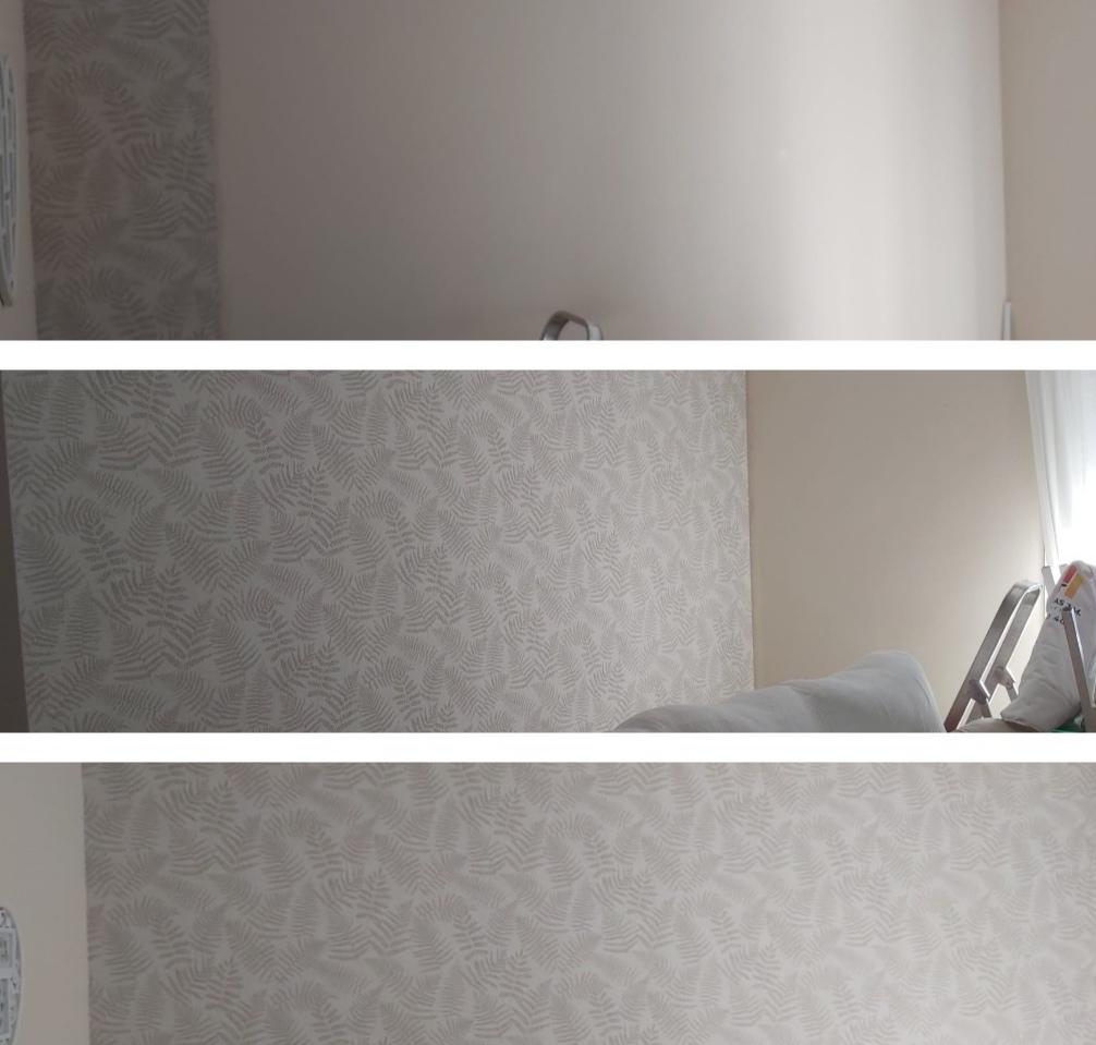 Empresa de pintores. Papel pintado en salón