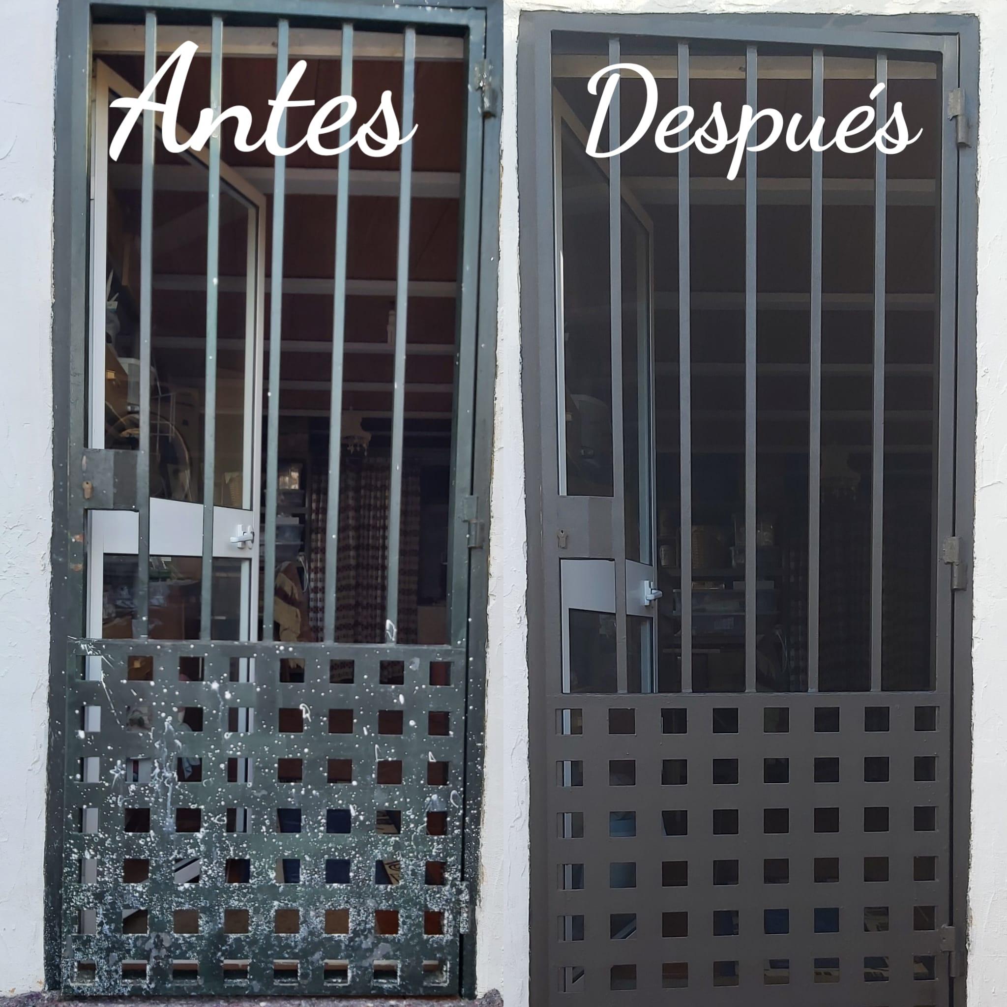 Pintor de casas. Pintado de puerta de forja. Antes y después