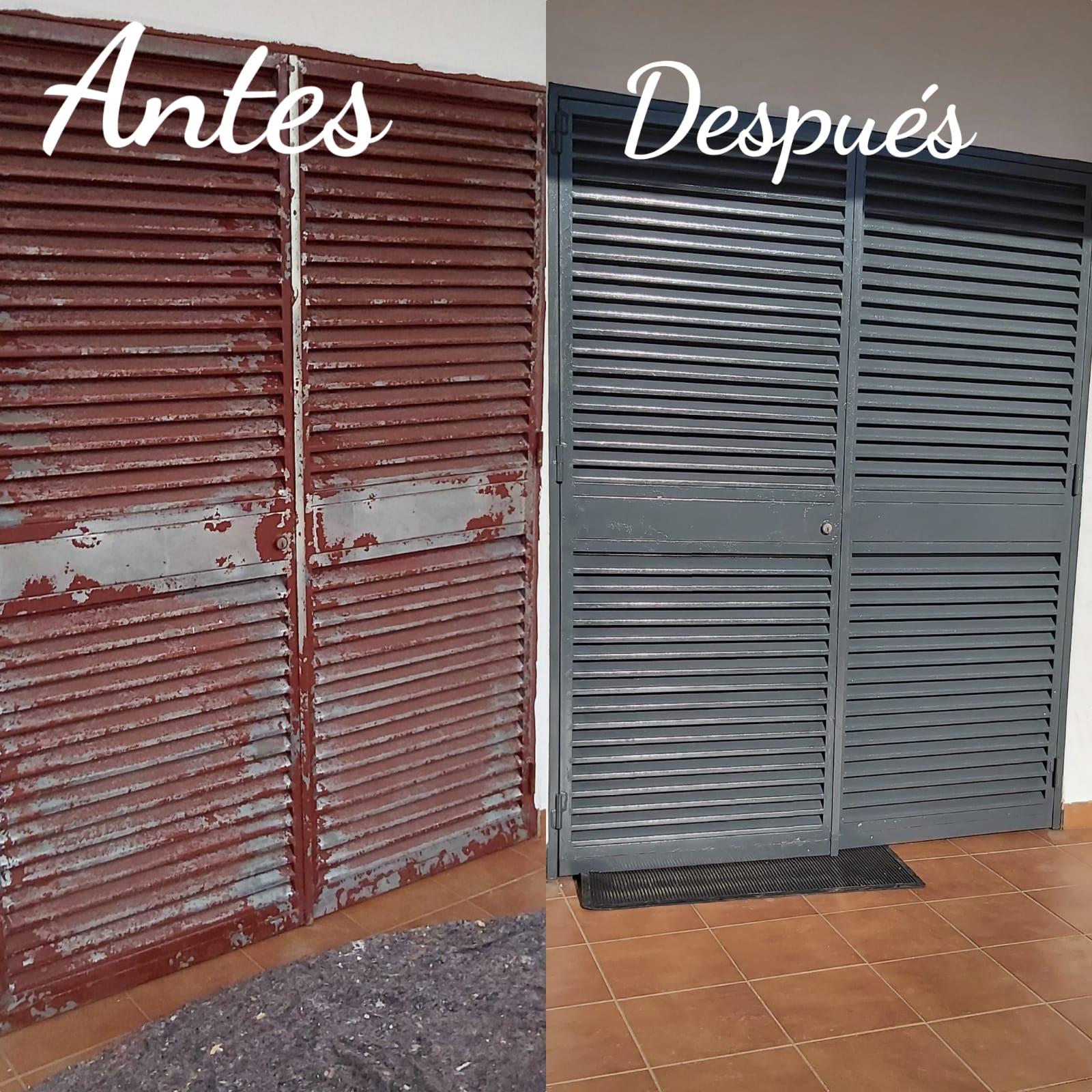 Empresa de pintores. Restauración y pintado a pistola de puertas metálicas